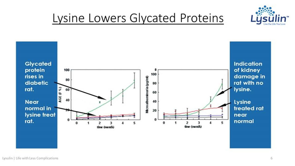 Lysulin lowers glycated proteins